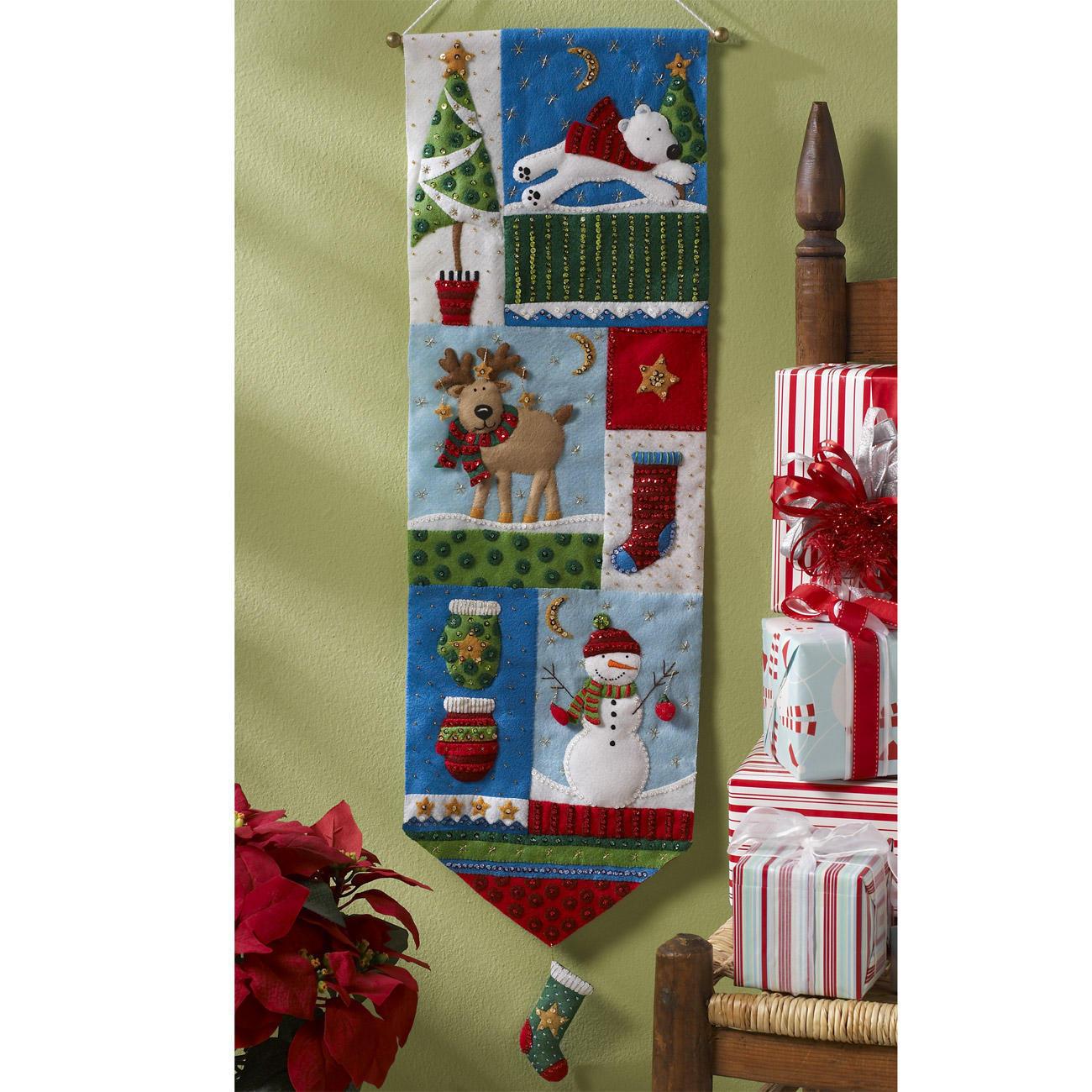Patchwork wandbehang weihnachtliches basteln mit filz - Wandbehang patchwork ...