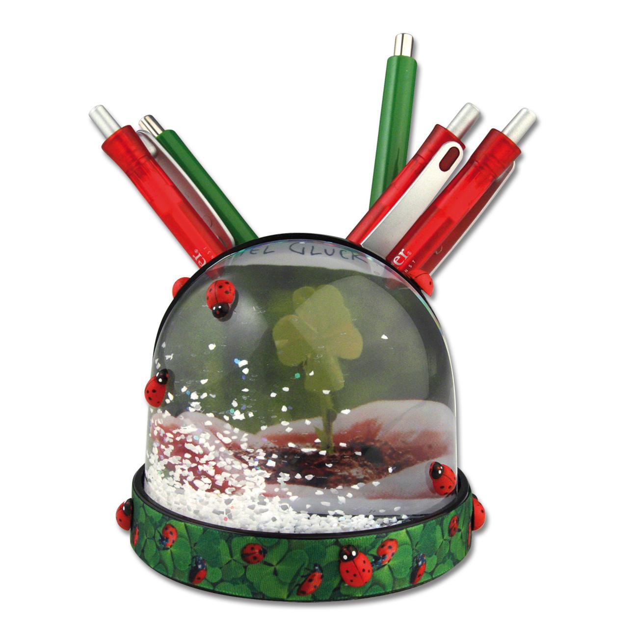 schneekugel schwarz mit stiftehalter schneekugel f r ihr besonderes foto weihnachtliches. Black Bedroom Furniture Sets. Home Design Ideas
