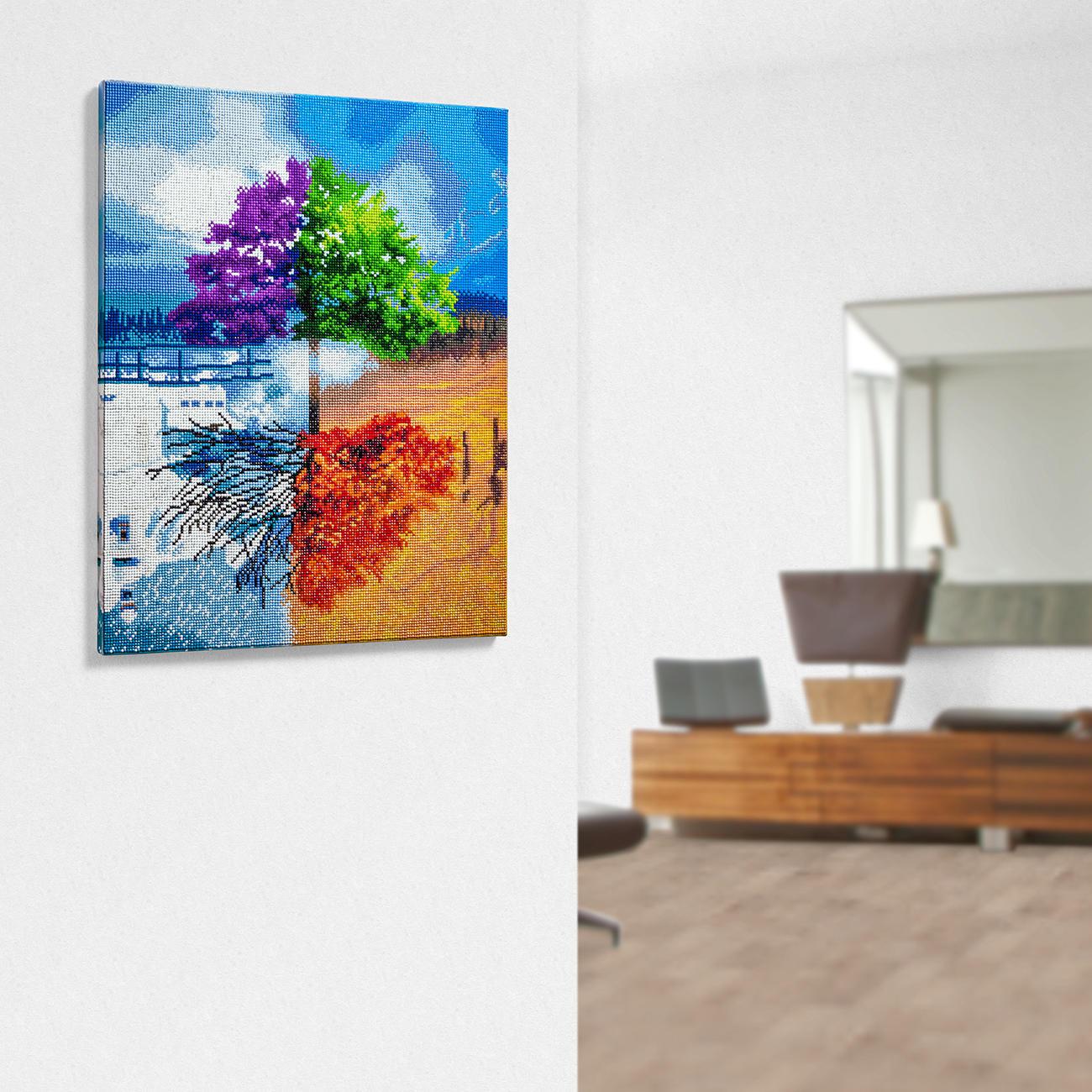 """Diamond Painting auf Keilrahmen """"Baum vier Jahreszeiten"""""""