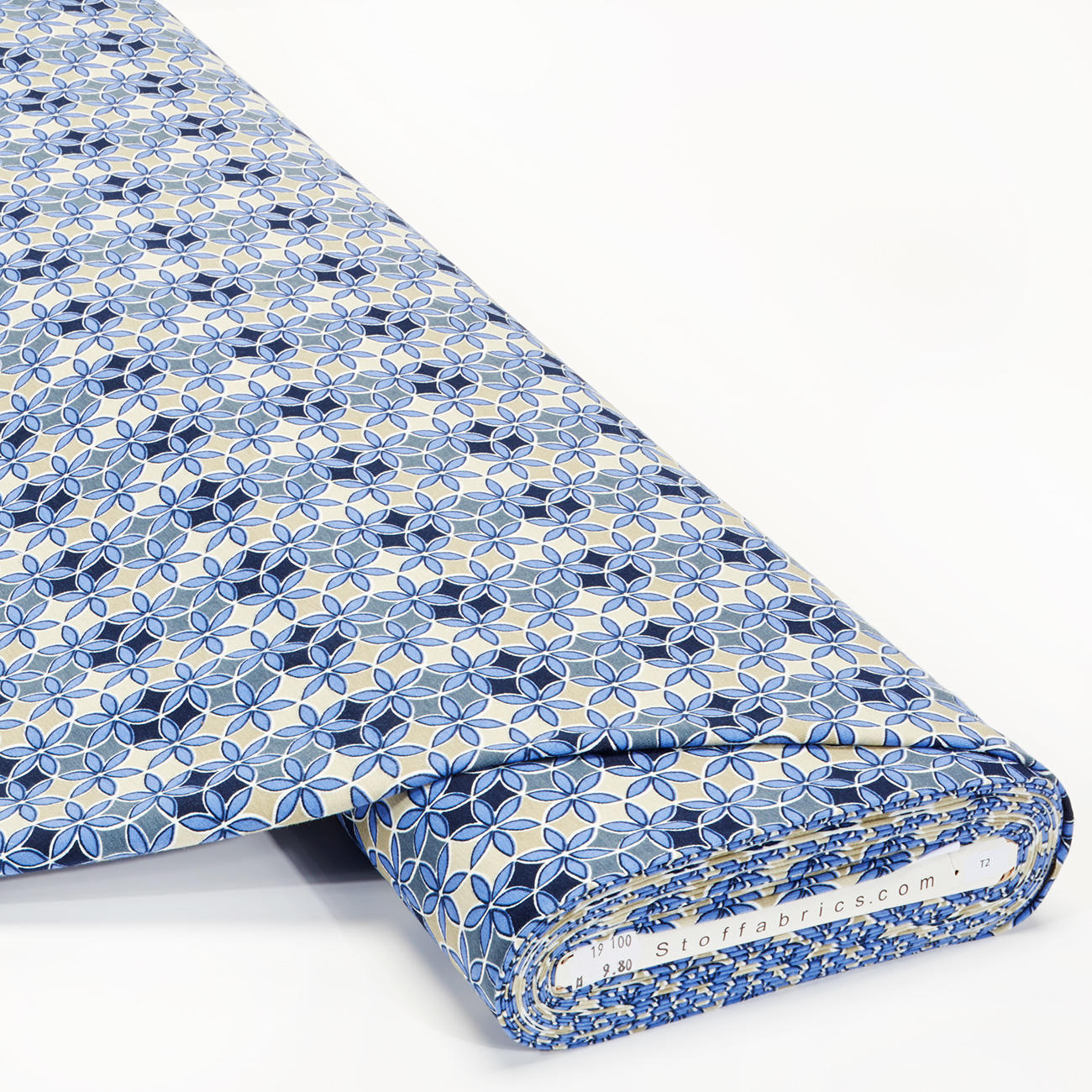 Meterware - Baumwoll-Jersey, Blumen Blau