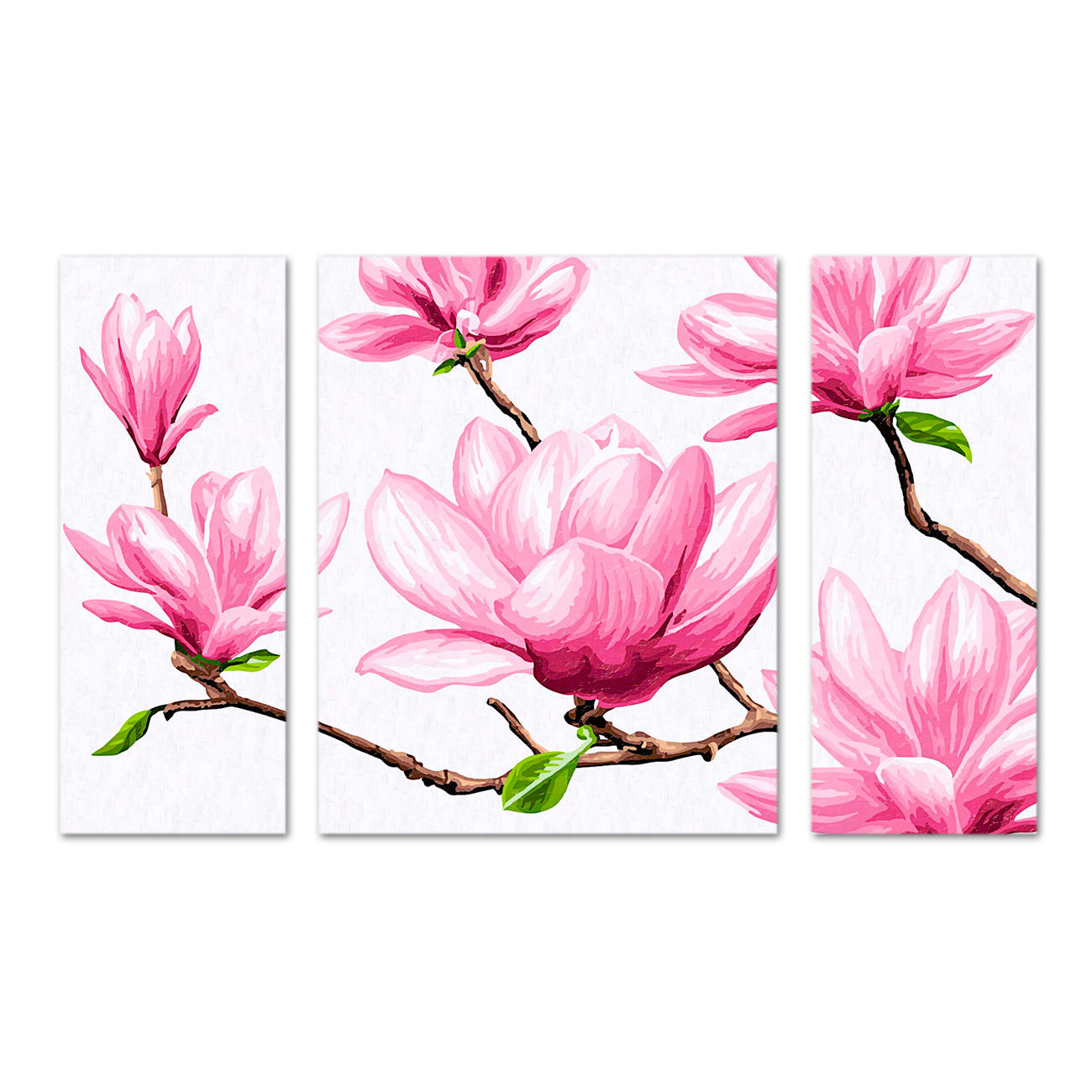 malen nach zahlen triptychon magnolien. Black Bedroom Furniture Sets. Home Design Ideas
