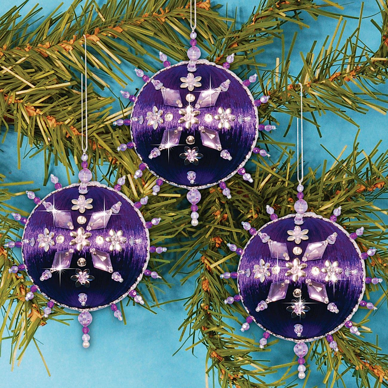 3 christbaumkugeln glanzfaden im set 4 versch farben for Christbaumkugeln lila silber