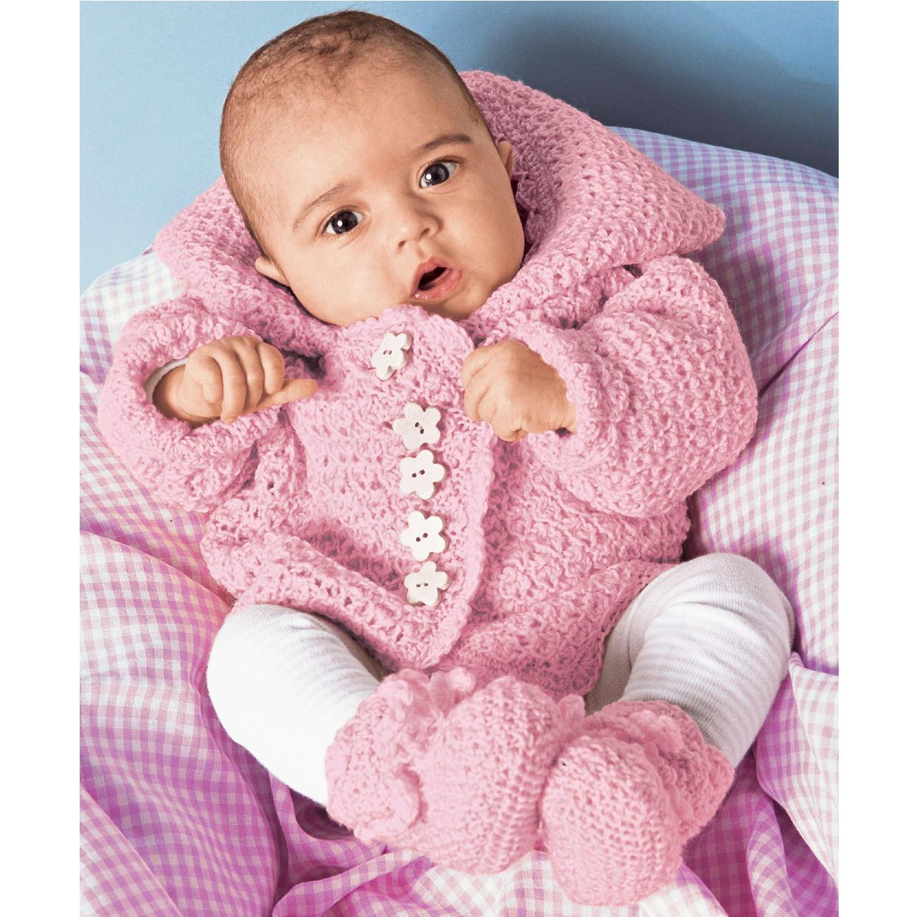 Anleitung 4770 Babyjacke Und Schühchen Mit Häkelrändern Aus Micro
