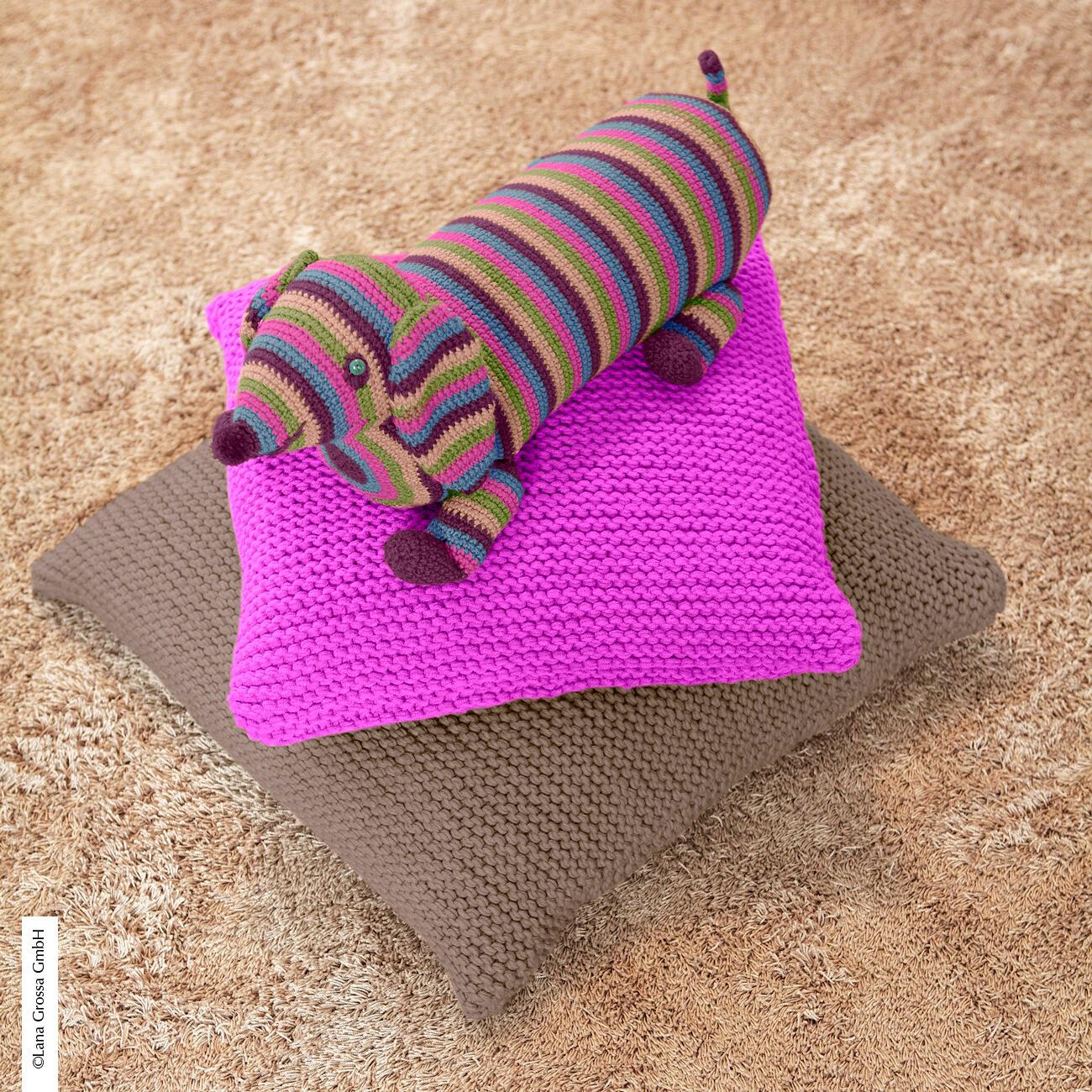 anleitung 312 2 2 f dig gestrickte kissenh llen aus mille ii von lana grossa 2 versch farben. Black Bedroom Furniture Sets. Home Design Ideas