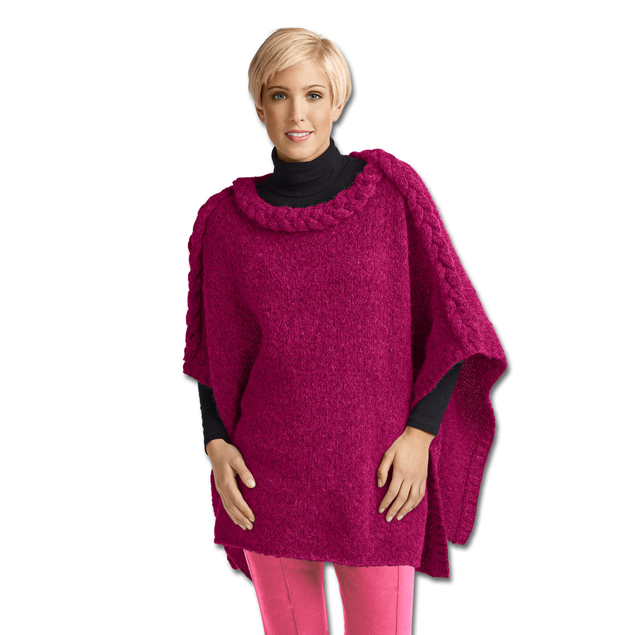 Modell 129 4 poncho aus fluffetto von junghans wolle 2 - Junghanns wolle ...