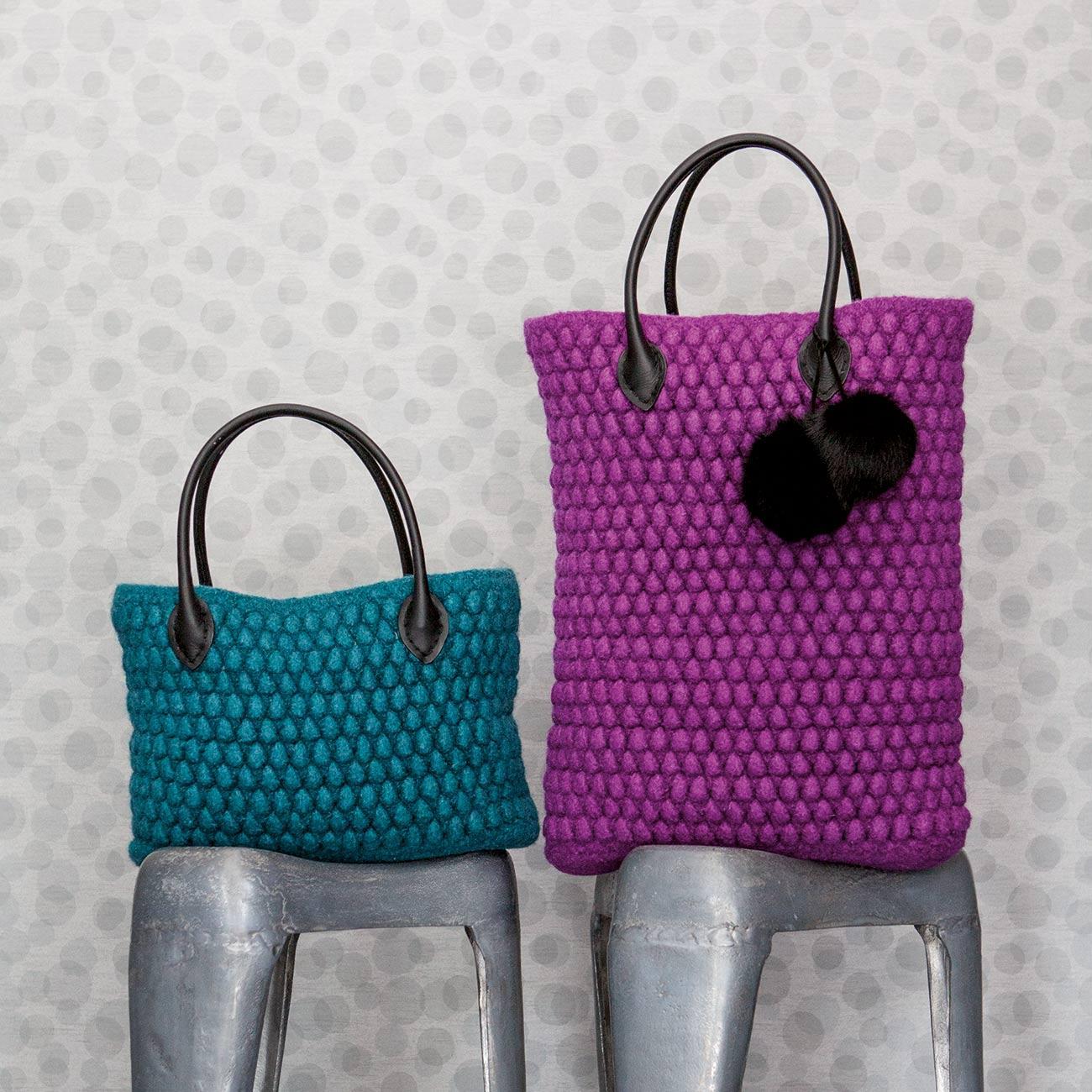 anleitung 342 4 taschen aus feltro von lana grossa 2 versch farben. Black Bedroom Furniture Sets. Home Design Ideas