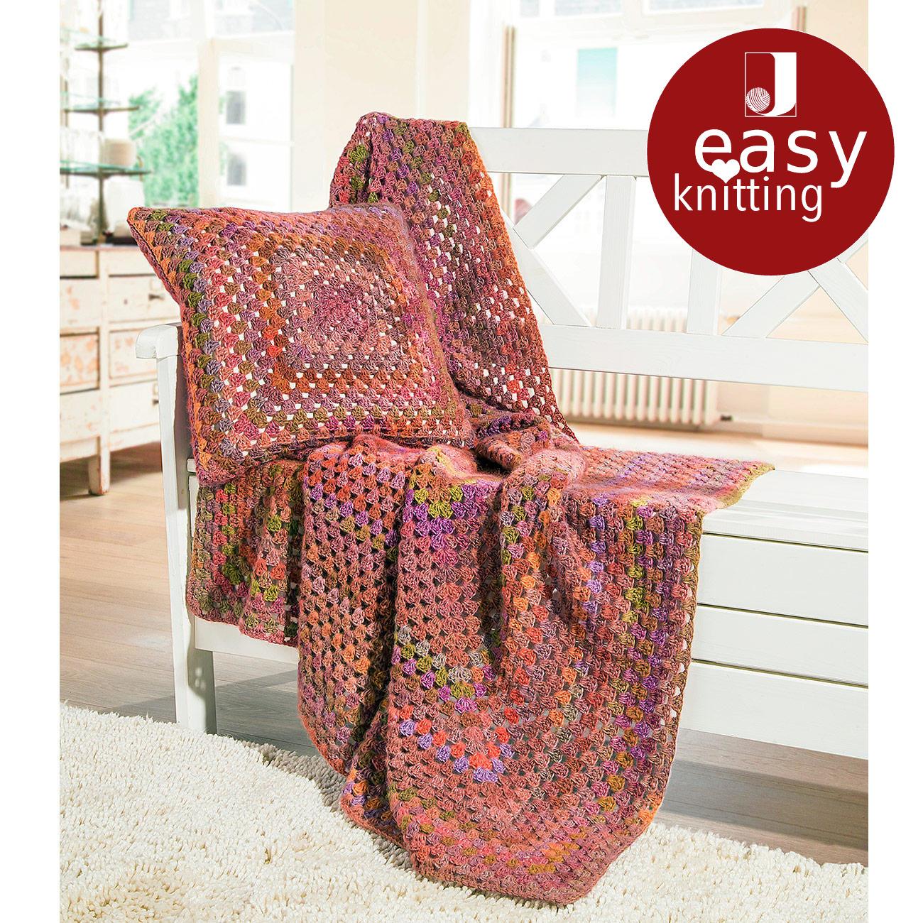 anleitung 450 6 decke und kissen aus scala von junghans wolle 1 versch farben. Black Bedroom Furniture Sets. Home Design Ideas