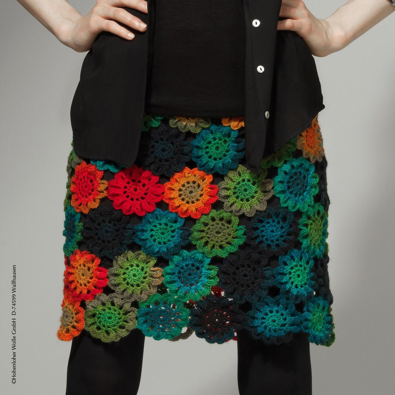 Прямая вязаная юбка крючком из квадратов, схема вязания 23