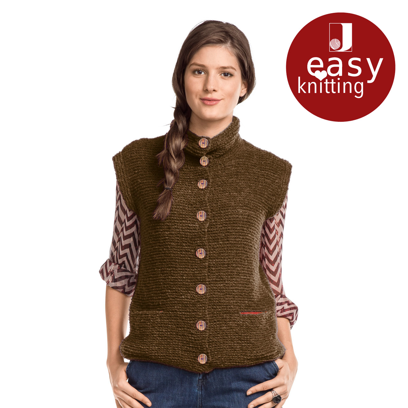 2f2e6810e4891d Anleitung 166/8, Damen Weste aus Aspra und Merino-Supersoft (Taschenbeutel)  von Junghans-Wolle