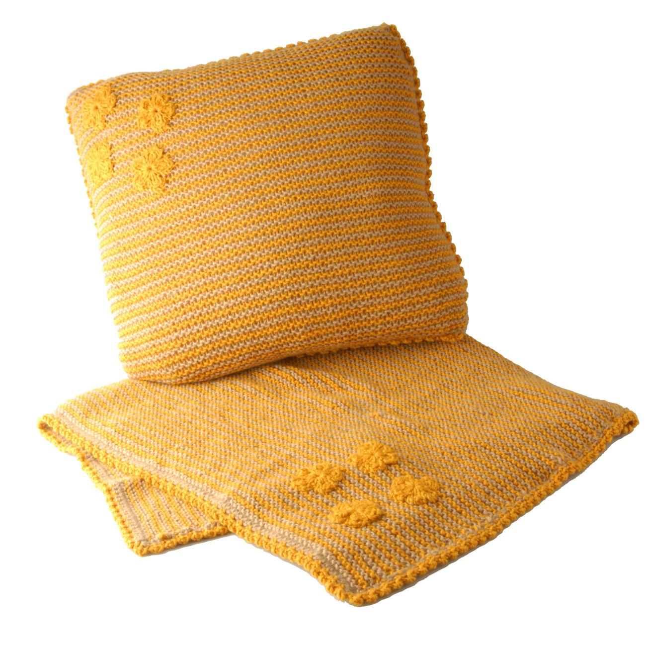 modell 253 2 kraus rechts gestrickte babydecke und kissen mit geh kelten blumen aus merino. Black Bedroom Furniture Sets. Home Design Ideas
