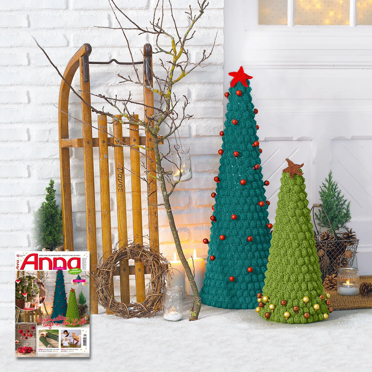 Modell 849 5 und 850 5 tannenb ume mit stern aus clou von junghans wolle 2 versch farben - Weihnachtliches dekorieren ...
