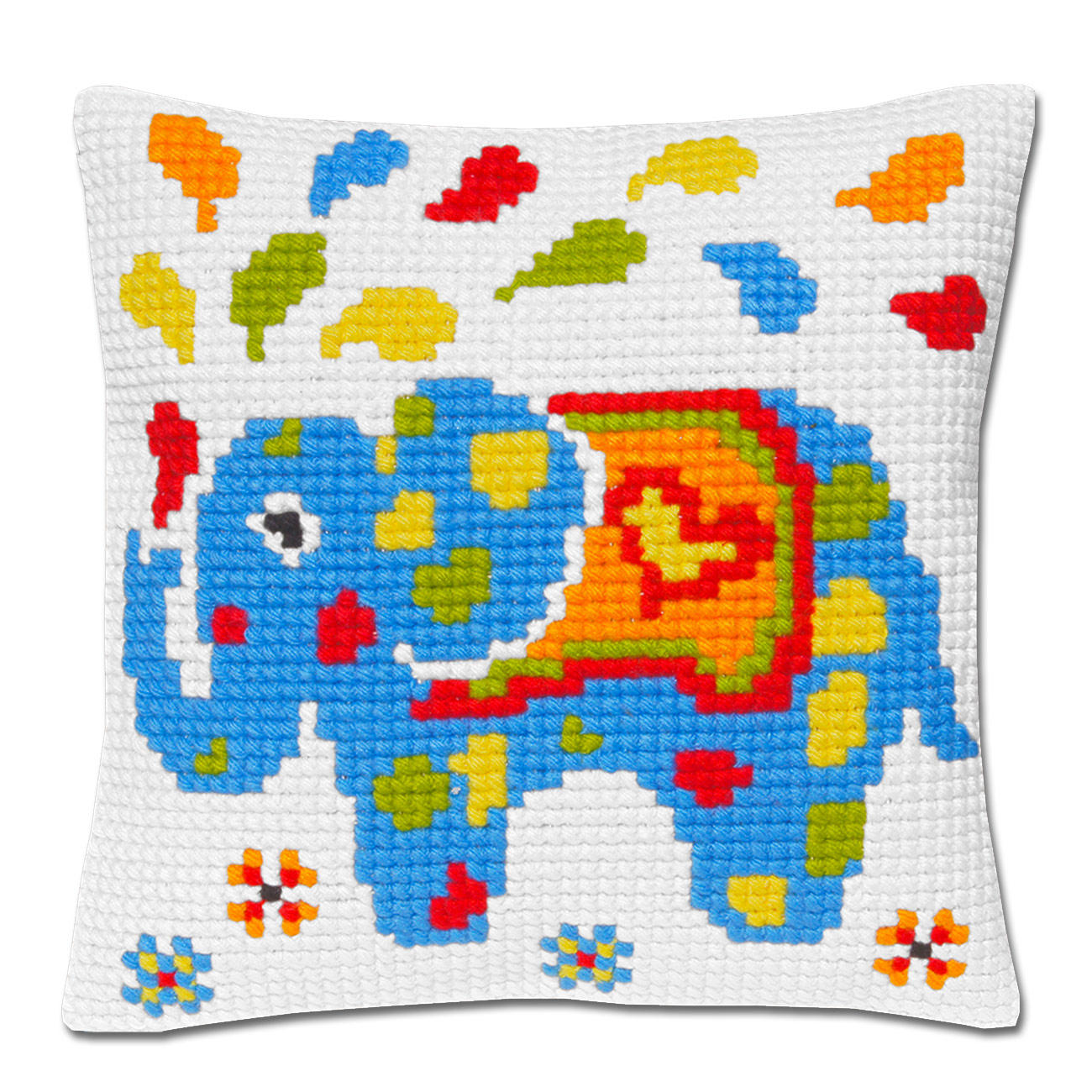 kreuzstich kissen elefant blau. Black Bedroom Furniture Sets. Home Design Ideas