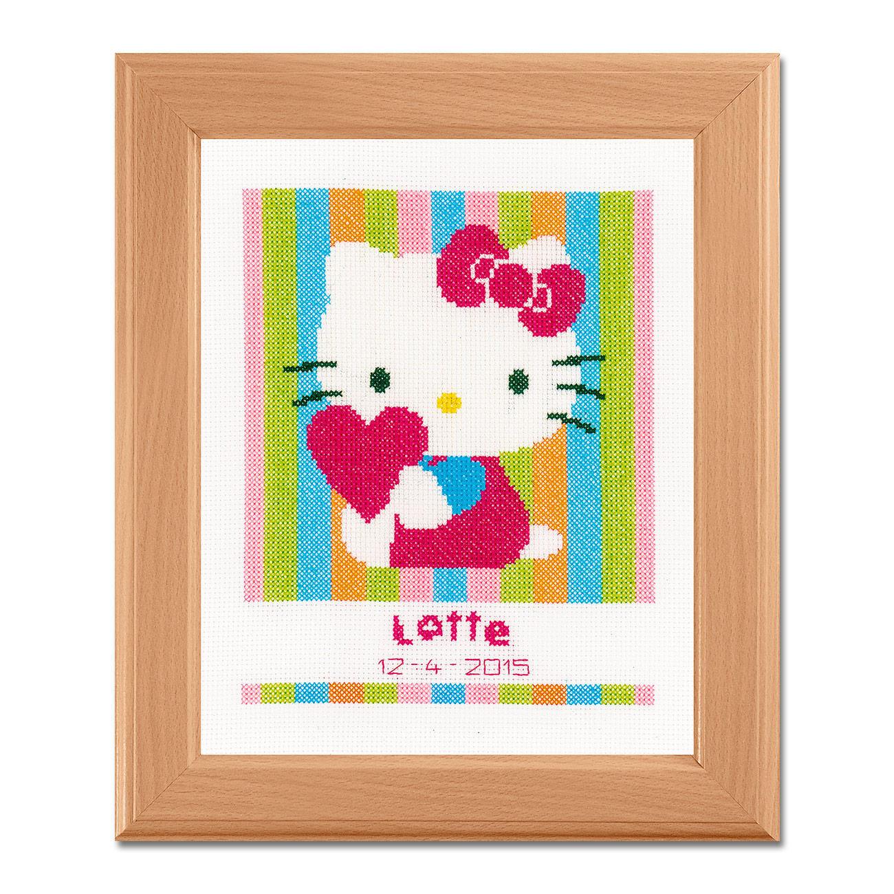 Kreuzstich-Geburtsbild - Hello Kitty