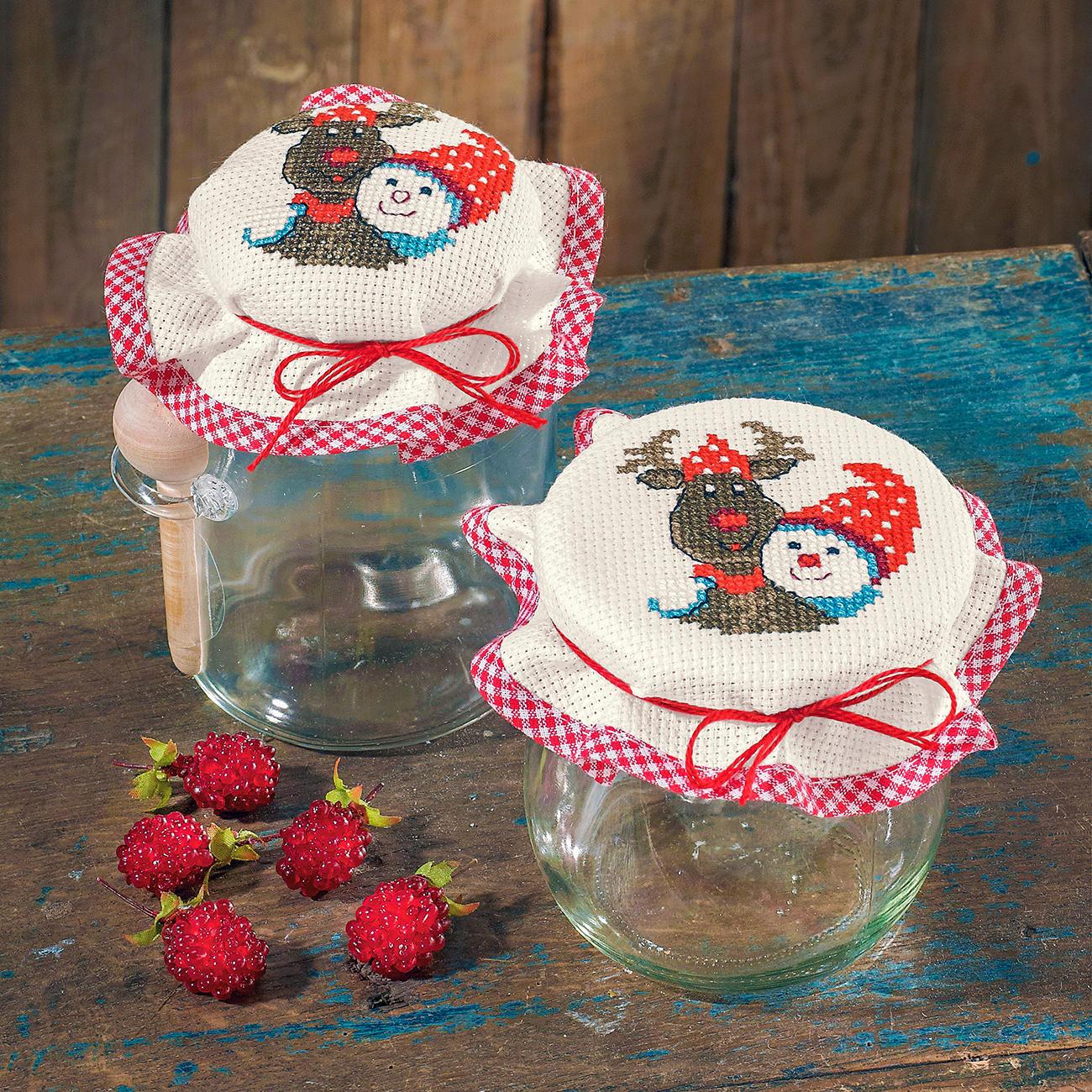 2 Marmeladenglasdeckchen im Set - Elch & Schneemann