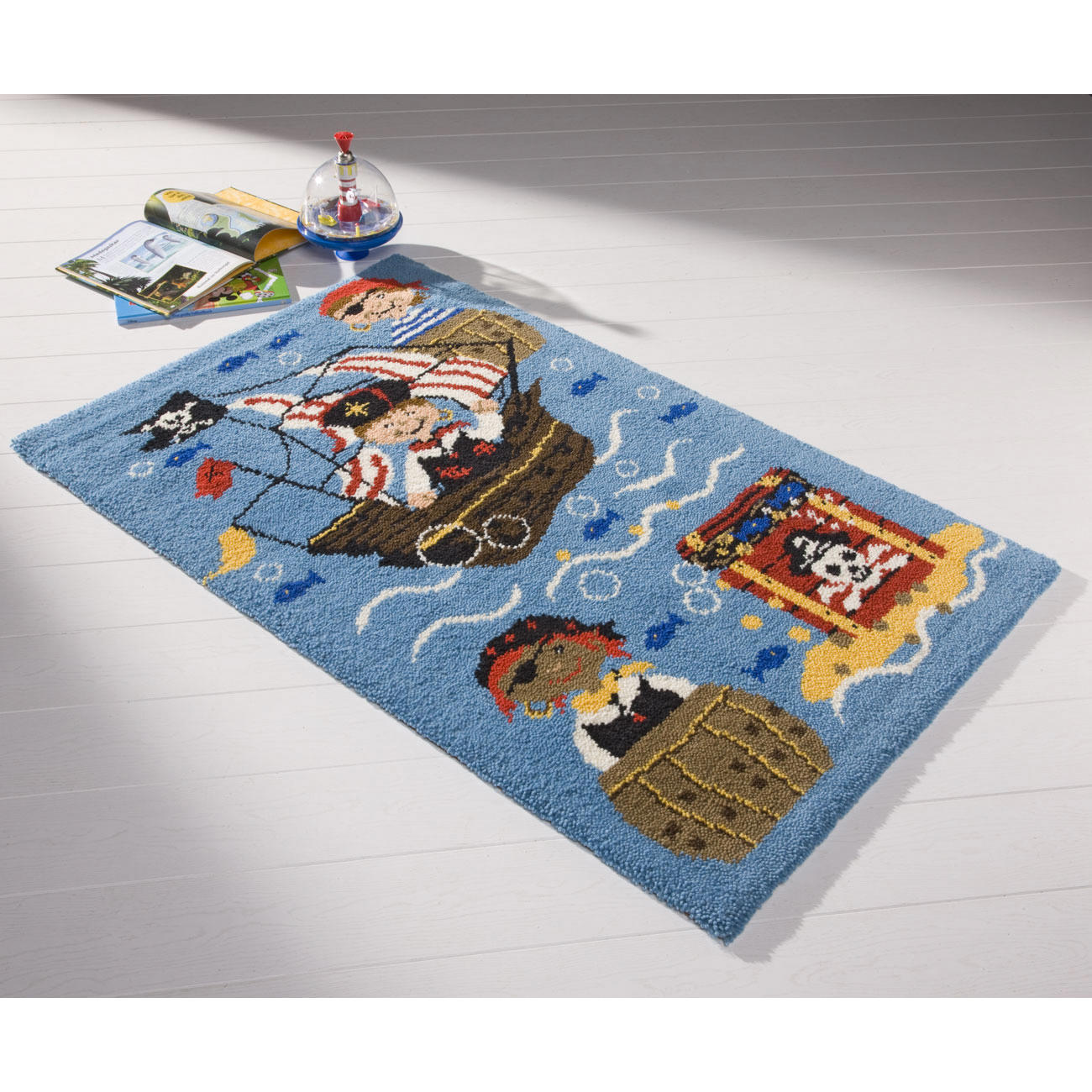 teppich piraten kinderteppiche teppiche kn pfen im junghans wolle creativ shop kaufen. Black Bedroom Furniture Sets. Home Design Ideas