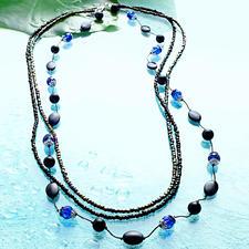 """Komplettpackung """"Halskette Black-Blue"""" Kühle Frische - Blau, Türkis, Grün."""