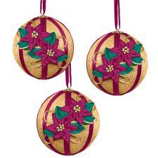 3 Christbaumkugeln Glanzfaden mit Blüten im Set Zum kreativen Selbermachen: Originelle Weihnachtskugeln.