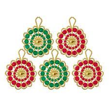 5 Kränze im Set, Ø 7 cm Glamouröser Perlen-Weihnachtsschmuck – als Komplettpackung zum kreativen Selbermachen.