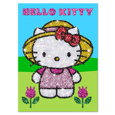"""Paillettenbilder für Kinder """"Hello Kitty im Garten"""" Glitzernde Paillettenbilder – ganz einfach gesteckt"""
