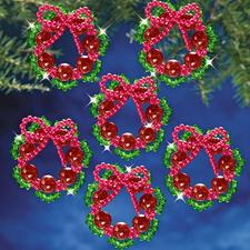 8 Kränze im Set, Ø 5 cm Glamouröser Perlen-Weihnachtsschmuck – in Komplettpackungen zum kreativen Selbermachen.