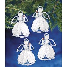 4 Engel im Set, 10 cm Glamouröser Perlen-Weihnachtsschmuck – in Komplettpackungen zum kreativen Selbermachen.
