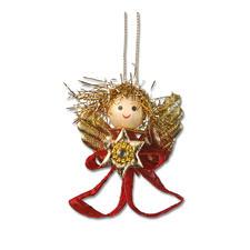 4er-Set Engelchen, Rot Weihnachtliche Dekorationen aus aktuellen Trendbändern.
