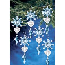 6 filigrane Anhänger im Set, 3 x 6 cm Glamouröser Perlen-Weihnachtsschmuck