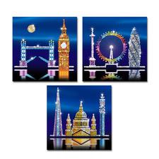 3 Paillettenbilder im Set - London Glitzernde Paillettenbilder – ganz einfach gesteckt