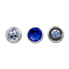 Deko-Druckknöpfe, Blau-Silber