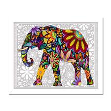 Puzzle - Elefant Puzzles im kunterbunten Hippie-Design.
