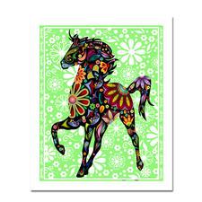 Puzzle - Pferd Puzzles im kunterbunten Hippie-Design.