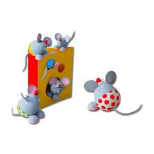 Mäusefamilie mit Käsehaus