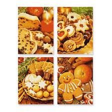 """Malen nach Zahlen Quattro """"Weihnachtsbäckerei"""" Quattro - 4 Bilder im Set."""