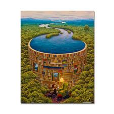 """Puzzle """"Bibliodame"""" nach Jacek Yerka Meisterwerke großer Künstler als Puzzle."""