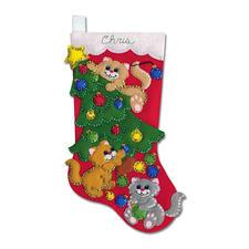 """Trendige Nikolausstiefel """"Verspielte Katze"""" Weihnachtliches Basteln mit Filz"""