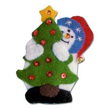 """3 Weihnachtsfiguren """"Santa und Schneemänner"""" im Set Weihnachtliches Basteln mit Filz."""