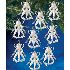 12 Viktorianische Engel im Set, Ø 5 cm Glamouröser Perlen-Weihnachtsschmuck – in Komplettpackungen zum kreativen Selbermachen.