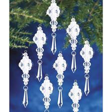 8 Kristallanhänger im Set,  Ø 9 cm Glamouröser Perlen-Weihnachtsschmuck – in Komplettpackungen zum kreativen Selbermachen.