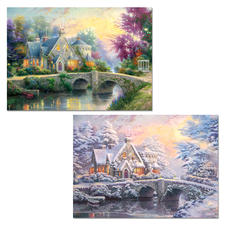 "2 Puzzles im Set ""Lamplight Manour/Winter in Lamplight Manour"" Puzzles nach Motiven von Thomas Kinkade"