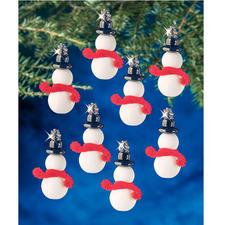 24 kleine Schneemänner im Set, 5 cm Glamouröser Perlen-Weihnachtsschmuck – in Komplettpackungen zum kreativen Selbermachen.