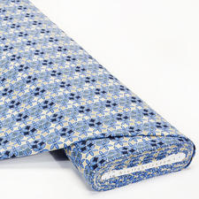 Meterware - Baumwoll-Jersey, Blumen Blau Baumwoll-Jersey – Der ideale Stoff für bequeme Shirts, Kleider und Kindermode.