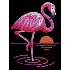 Paillettenbild für Kinder - Flamingo Glitzernde Paillettenbilder – ganz einfach gesteckt