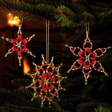 6 Sterne im Set, ca. 10 cm Glamouröser Perlen-Weihnachtsschmuck – als Komplettpackungen zum kreativen Selbermachen.