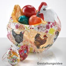 """Pappmaché-Figur """"Huhn mit Eiern"""""""