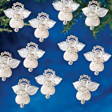 24 kleine Engel im Set, 3 cm Glamouröser Perlen-Weihnachtsschmuck – als Komplettpackungen zum kreativen Selbermachen.