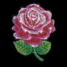 Paillettenbild für Erwachsene - Rote Rose Paillettenbilder mit eindrucksvollen Motiven