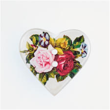"Jim Knopf Herzknopf - Rosen, Weiß, 25 mm, 1 Stück Jim Knopf Herzknopf ""Rosen"", Weiß, 25 mm, 1 Stück"