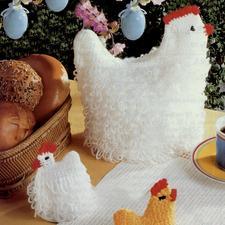 Anleitung 810/8, Gehäkelte Brotkorbhenne und Eierwärmer-Küken aus Poco von Junghans-Wolle