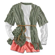 Modell 191/3, Häkeljacke mit seitlichen Schlitzen aus Dacapo von Junghans-Wolle
