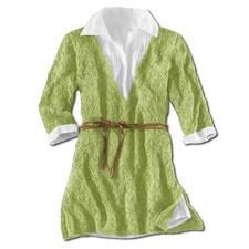 Modell 412/3, Damenpullover, leicht ausgestellt mit seitlichen Schlitzen aus Contrato von Junghans-Wolle